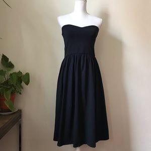 ASOS Strapless Gathered Skirt Navy Dress